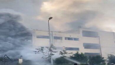 حريق مصنع العبور